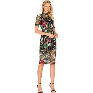 Vone Embroidered Sheath Floral Black Dress Size 2